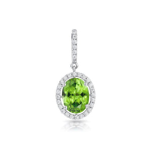 Sabel Collection 14K White Gold Oval Peridot and Diamond Pendant