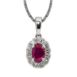 Sabel Collection 14K White Gold Oval Ruby and Diamond Halo Pendant