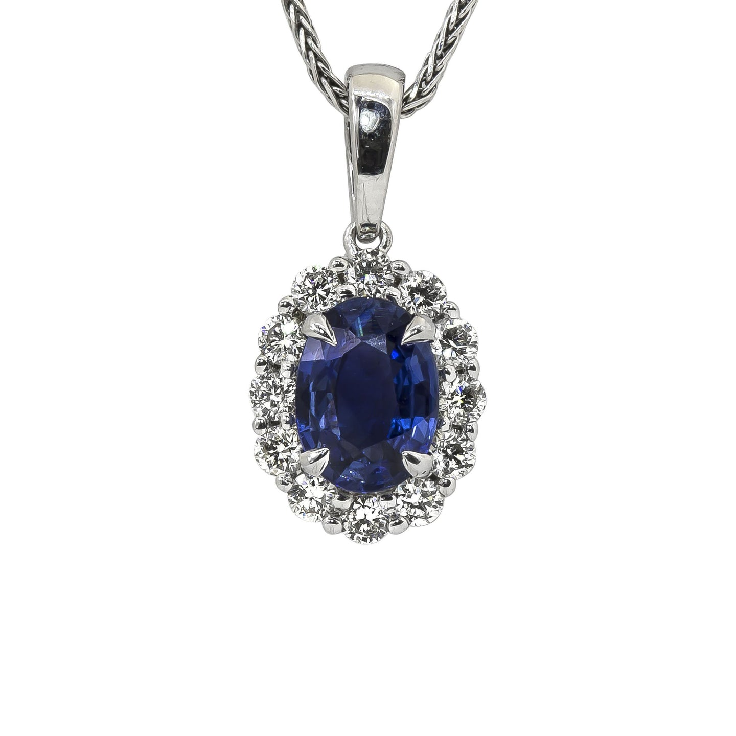 Sabel Collection 14K White Gold Oval Sapphire and Diamond Halo Pendant