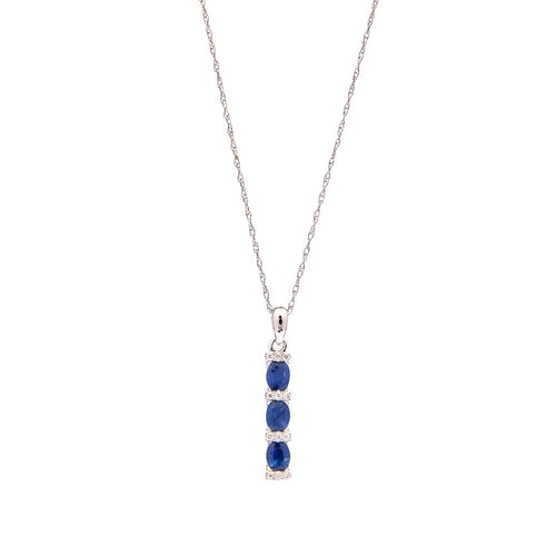 Sabel Collection 14K White Gold Oval Sapphire and Diamond Triple Drop Pendant