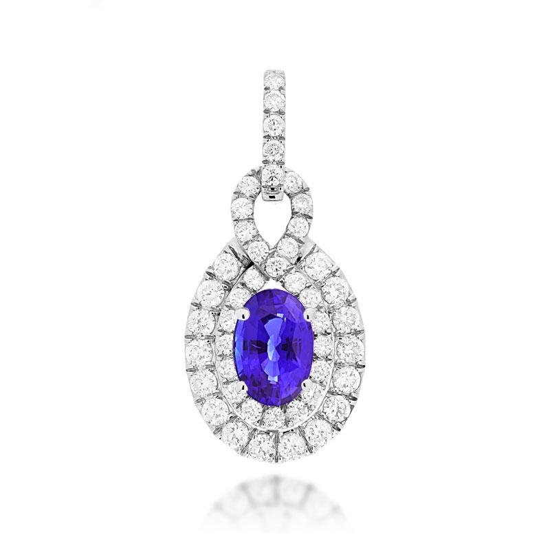 Sabel Collection 14K White Gold Oval Tanzanite and Diamond Double Halo Pendant