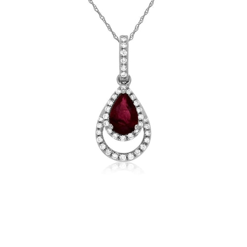 Sabel Collection 14K White Gold Pear Shape Ruby with Diamond Pendant