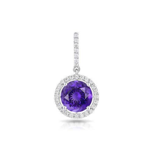 Sabel Collection 14K White Gold Round Amethyst and Diamond Pendant