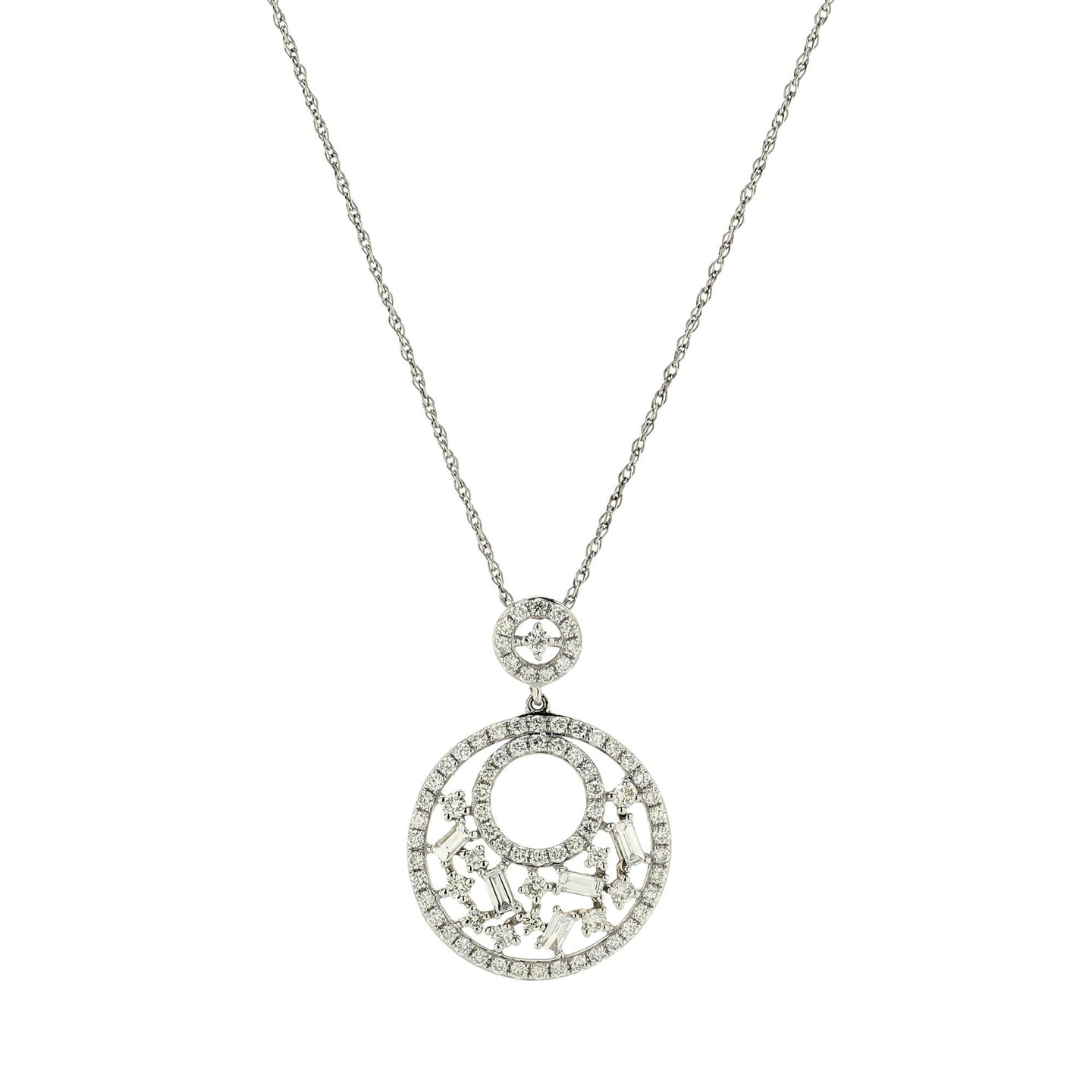 Sabel Collection 14K White Gold Round and Baguette Cutout Circle Pendant