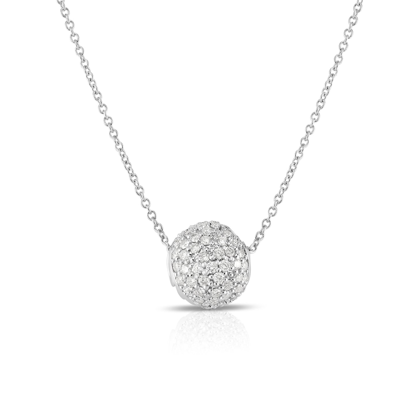 Sabel Collection 14K White Gold Round Circle Diamond Rondelle Pendant