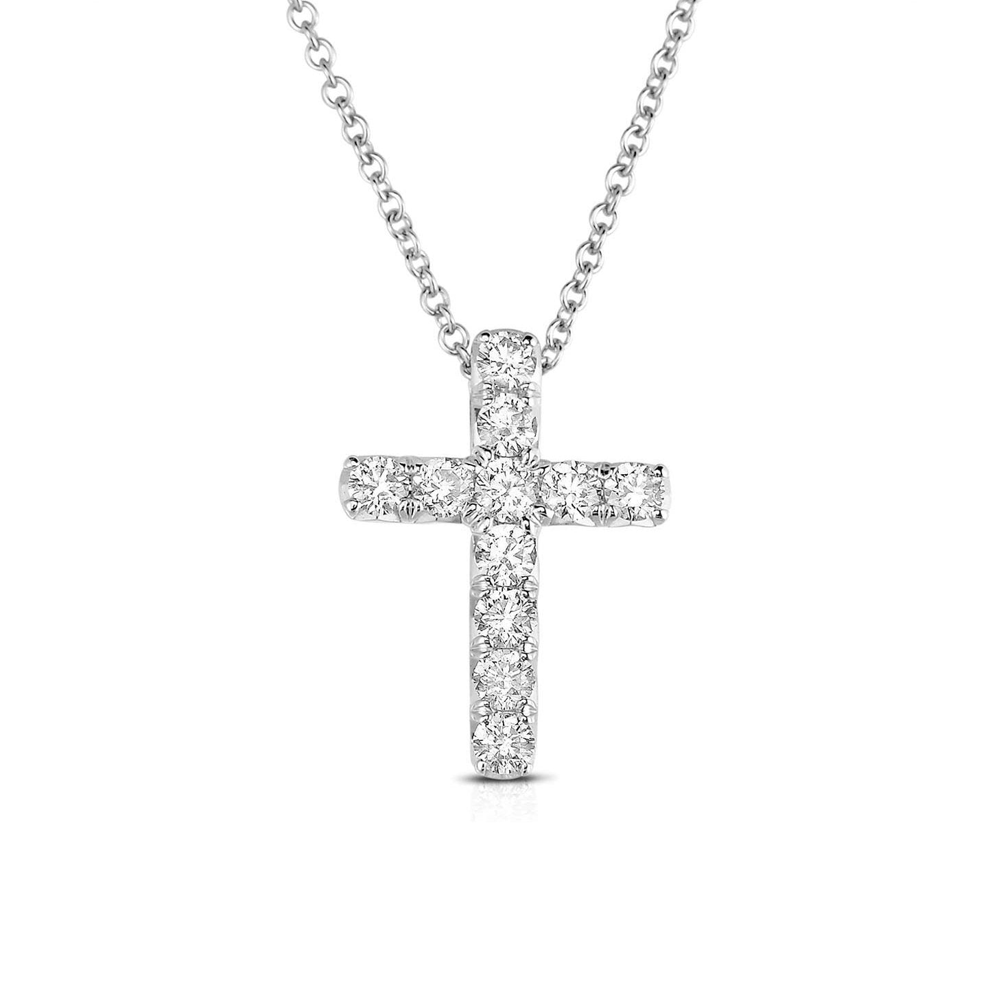 Sabel Collection 14K White Gold Round Diamond Cross Pendant