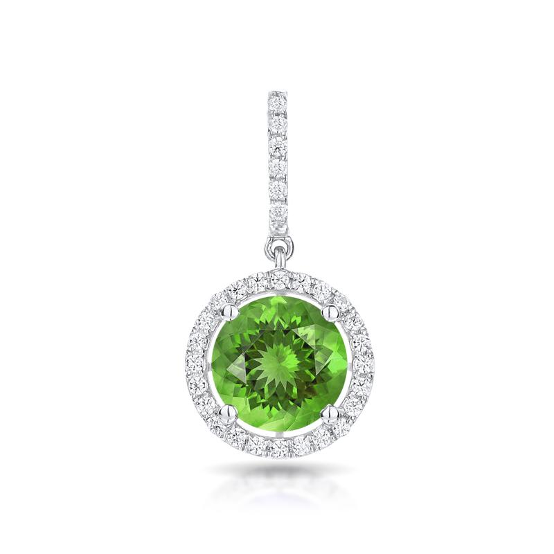 Sabel Collection 14K White Gold Round Peridot and Diamond Pendant