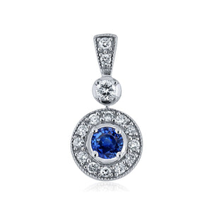 Sabel Collection 14K White Gold Round Sapphire and Round Diamond Halo Pendant
