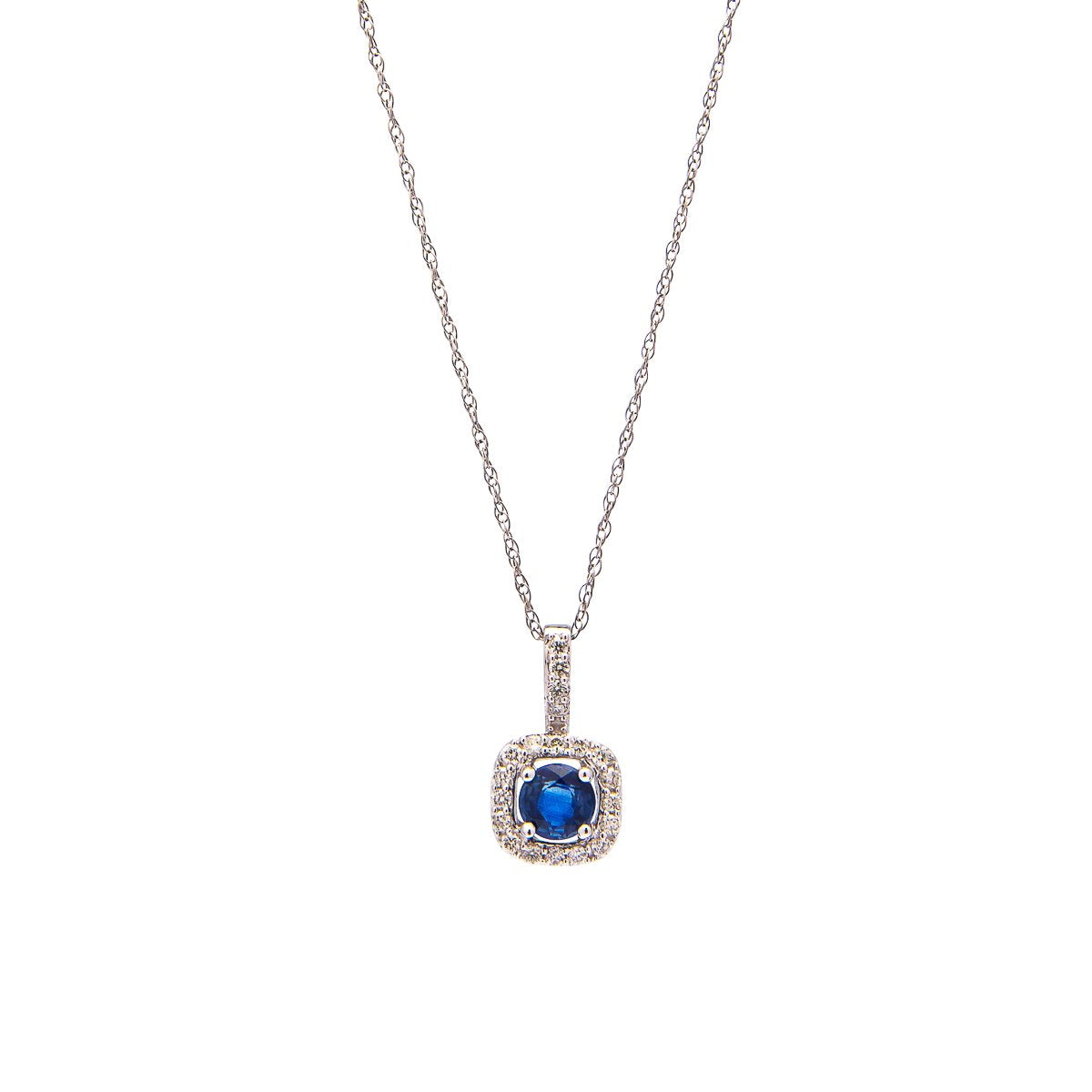 Sabel Collection 14K White Gold Round Sapphire Pendant