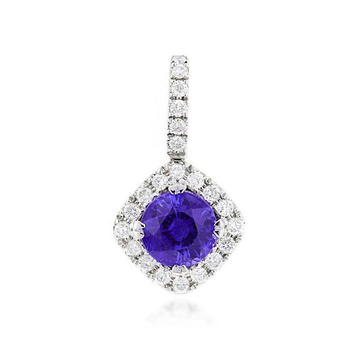Sabel Collection 14K White Gold Round Tanzanite and Diamond Pendant