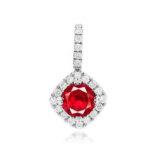 Sabel Collection 14K White Gold Ruby and Diamond Pendant