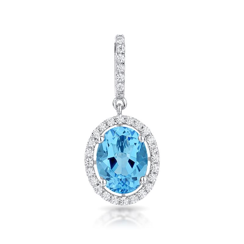 Sabel Collection 14K White Gold Swiss Blue Topaz and Diamond Pendant