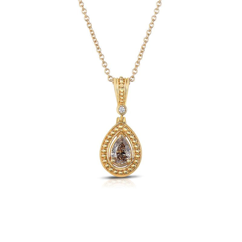 Sabel Collection 14K Yellow Gold Pear Shape Mocha Diamond Pendant Necklace
