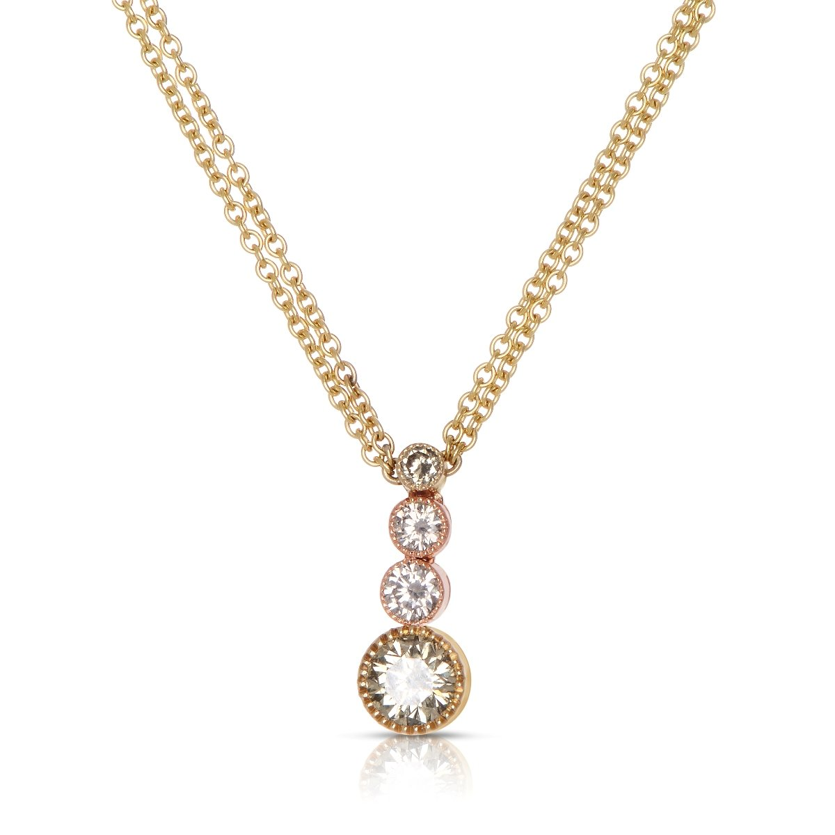 Sabel Collection 18K Yellow and Pink Gold Fancy Color Diamond Dangle Necklace