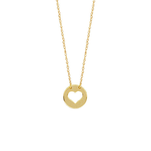Sabel Everyday Collection 14K Yellow Gold Cutout Heart Mini Disc Necklace