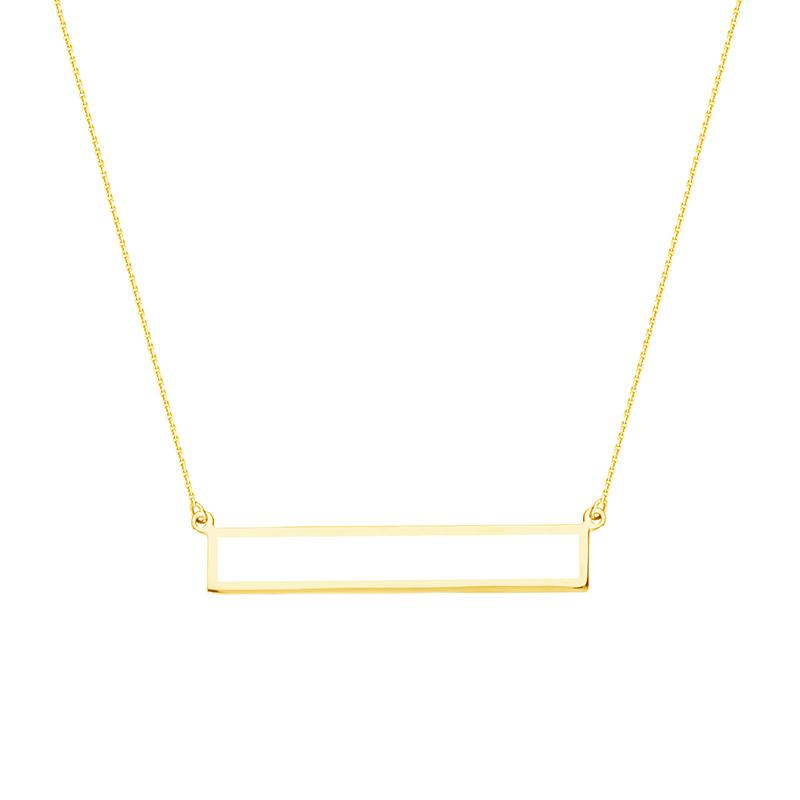 Sabel Everyday Collection 14K Yellow Gold Rectangular Bar Necklace