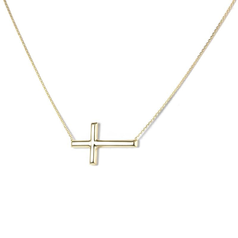 Sabel Everyday Collection 14K Yellow Gold Sideways Cross Necklace