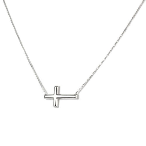 Sabel Everyday Collection Sterling Silver Small Sideways Cross Necklace