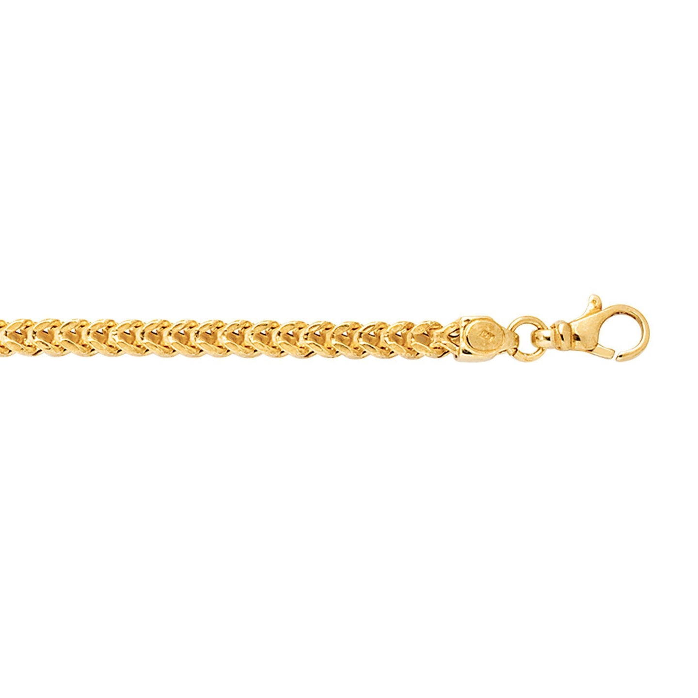 Sabel Men's 14K Yellow Gold Square Franco Chain Necklace with Pear Shape Clasp