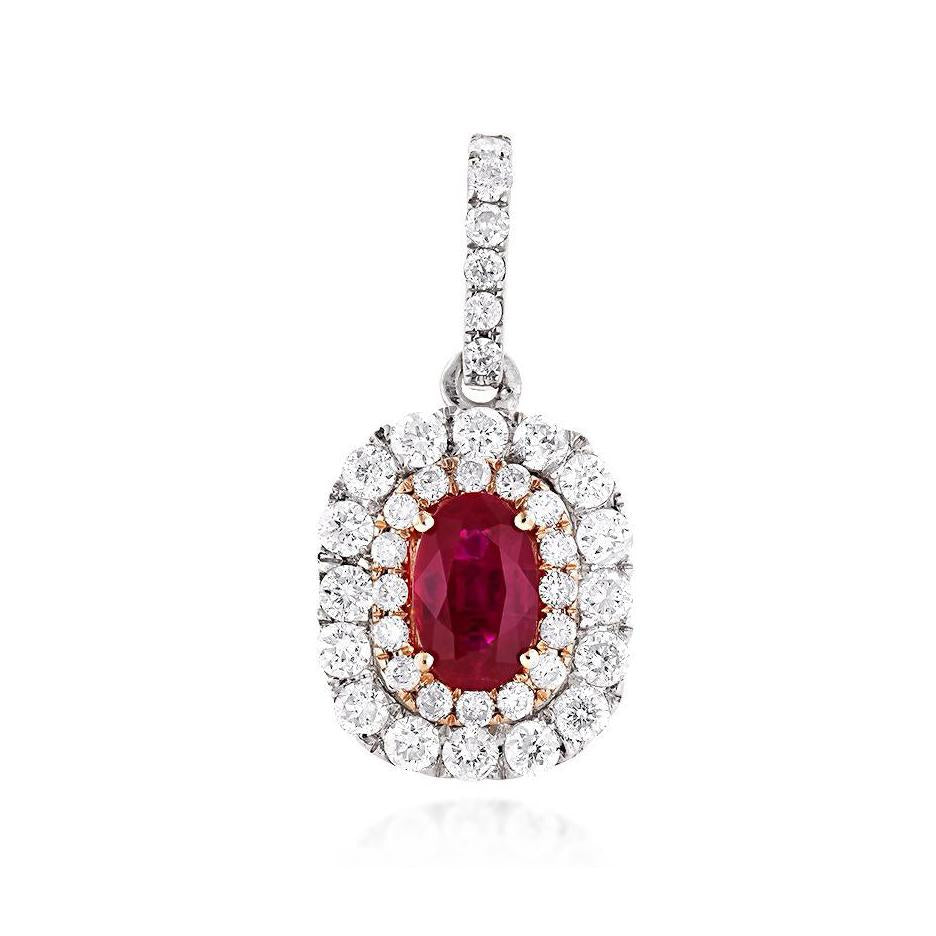 Sabel Collection 14K White and Rose Gold Oval Ruby and Double Halo Diamond Pendant