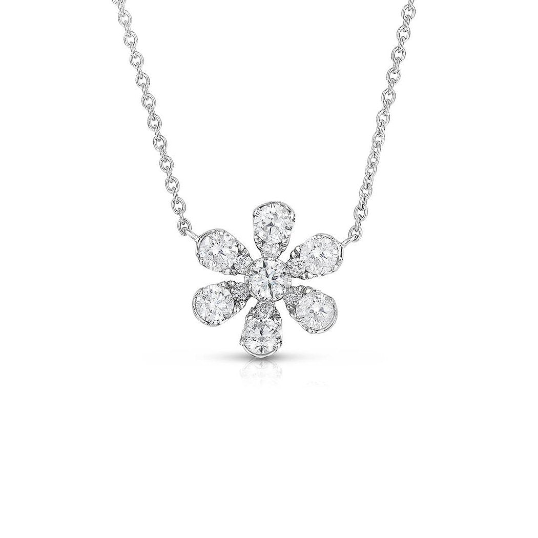 Sabel Collection 14K White Gold Diamond Flower Pendant Necklace