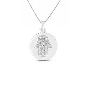 Sabel Collection 14K White Gold Diamond Hamsa Circle Disc Necklace