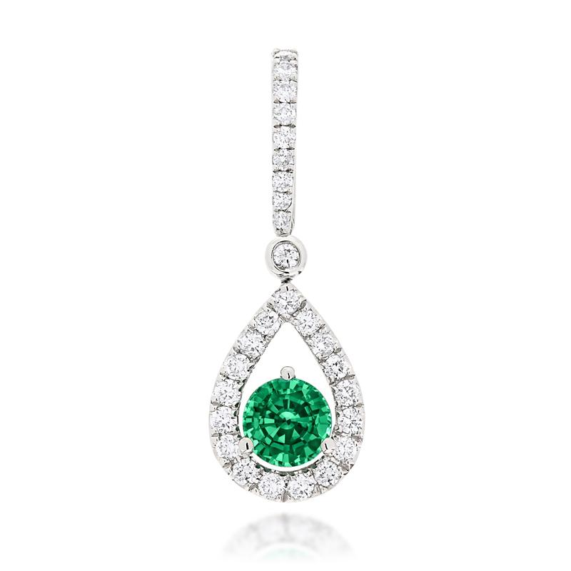 Sabel Collection 14K White Gold Emerald and Diamond Pear Shape Pendant
