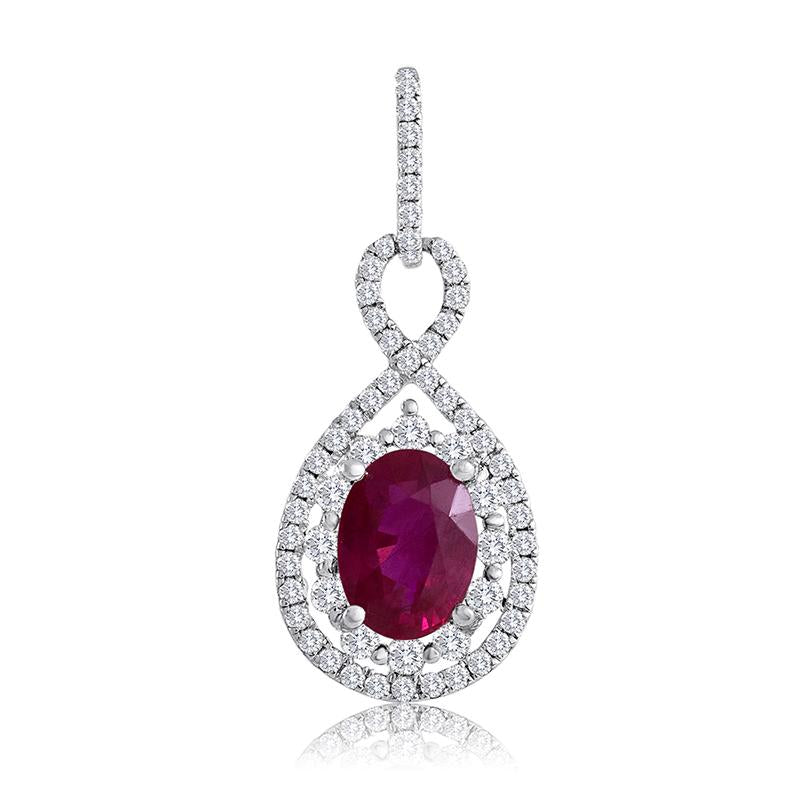 Sabel Collection 14K White Gold Oval Ruby and Diamond Pendant