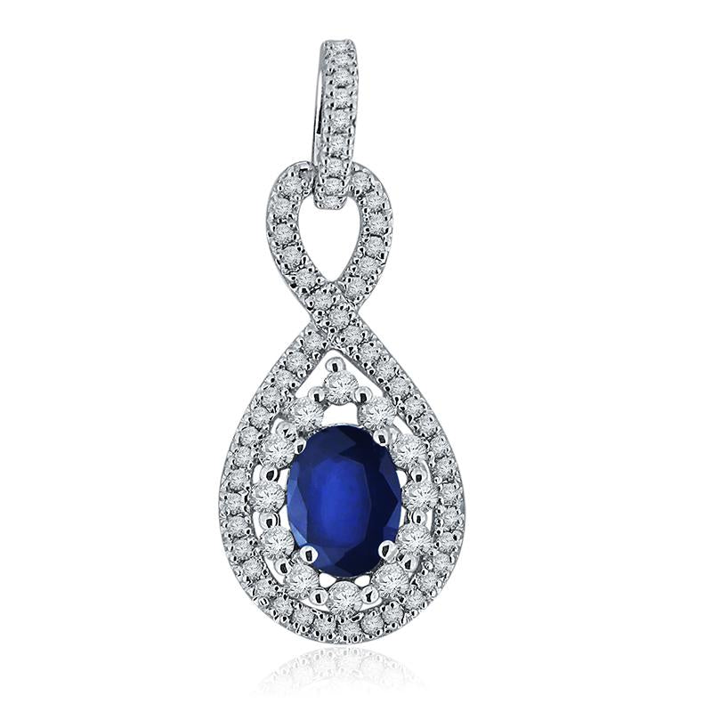 Sabel Collection 14K White Gold Oval Sapphire and Diamond Pendant