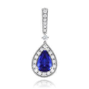 Sabel Collection 14K White Gold Pear Tanzanite and Diamond Pendant