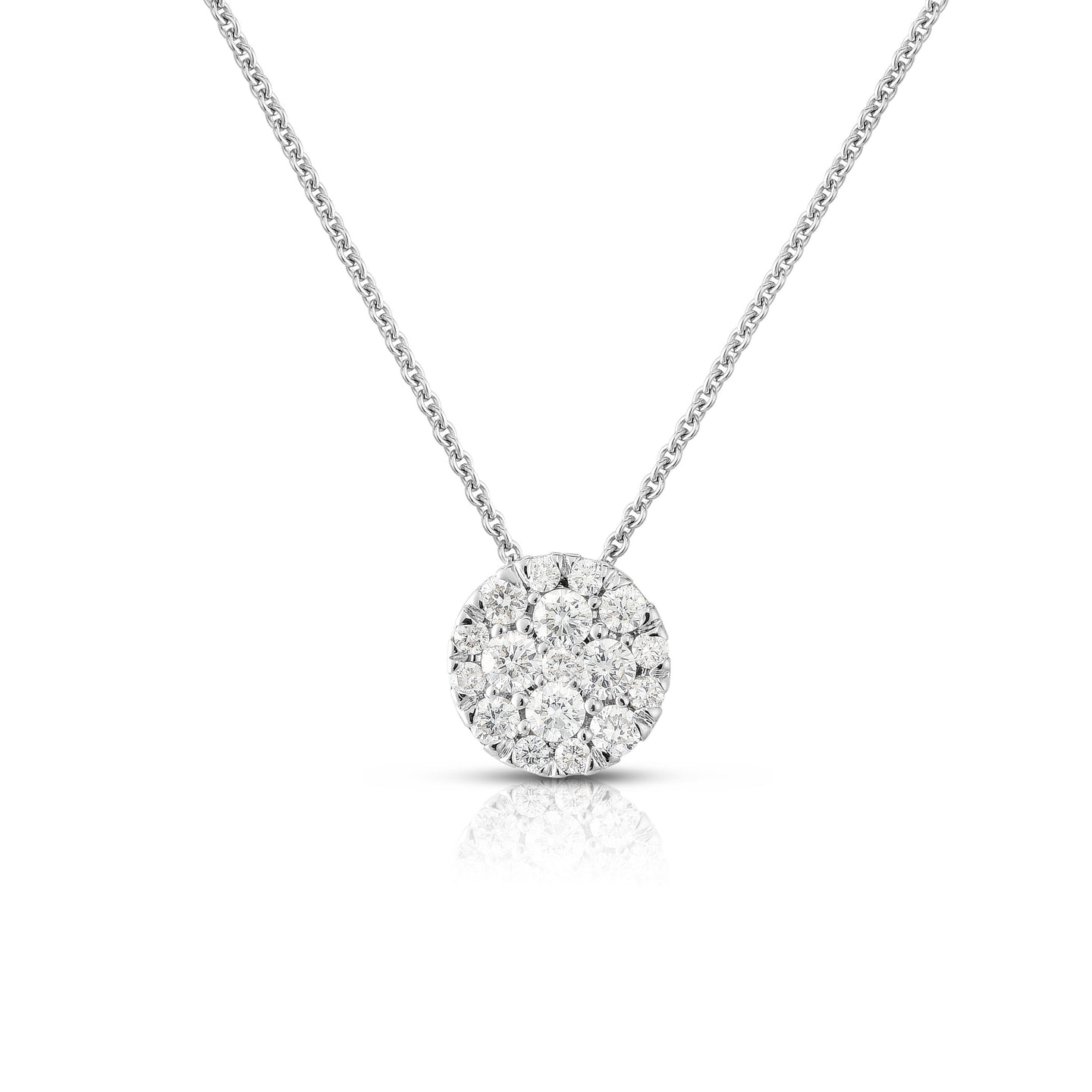 Sabel Collection 14K White Gold Round Diamond Cluster Pendant