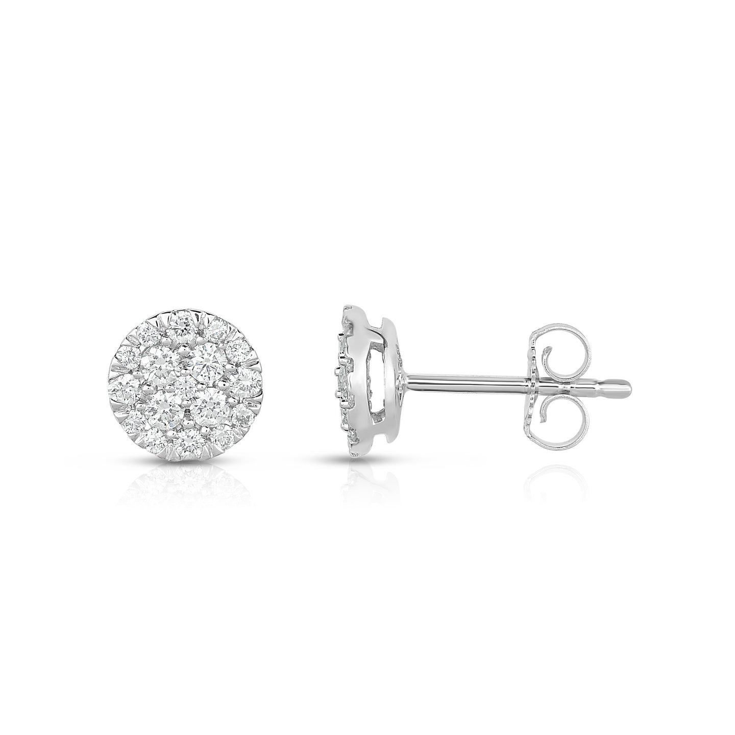Sabel Collection 14K White Gold Round Diamond Cluster Stud Earrings