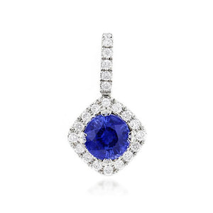 Sabel Collection 14K White Gold Round Sapphire and Round Diamond Pendant