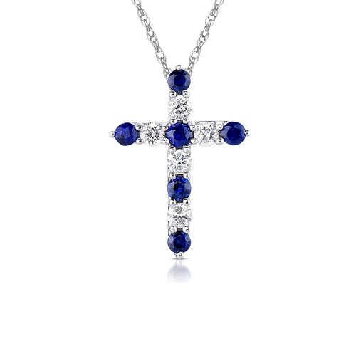 Sabel Collection 14K White Gold Sapphire and Diamond Cross Pendant