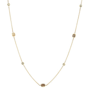 Sabel Collection 14K Yellow Gold Mocha and White Multi Shape Diamond Station Necklace