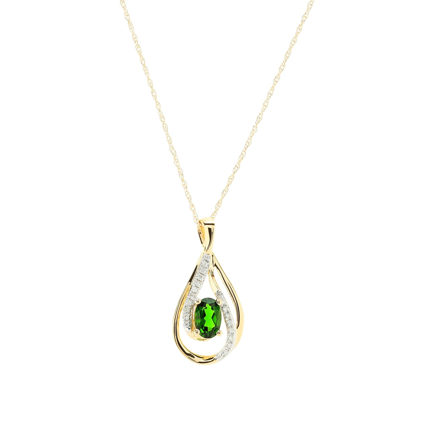 Sabel Collection 14K Yellow Gold Oval Russalite and Diamond Pear Shape Necklace