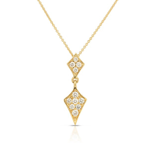 Sabel Collection 14K Yellow Gold Round Diamond Double Drop Pendant