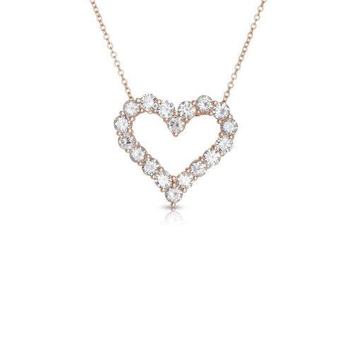 Sabel Collection 14K Rose Gold and Diamond Heart Pendant