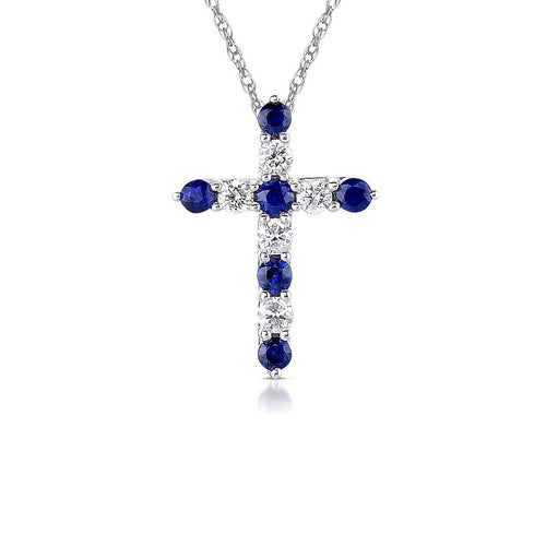 Sabel Collection Sapphire and Diamond Cross Pendant