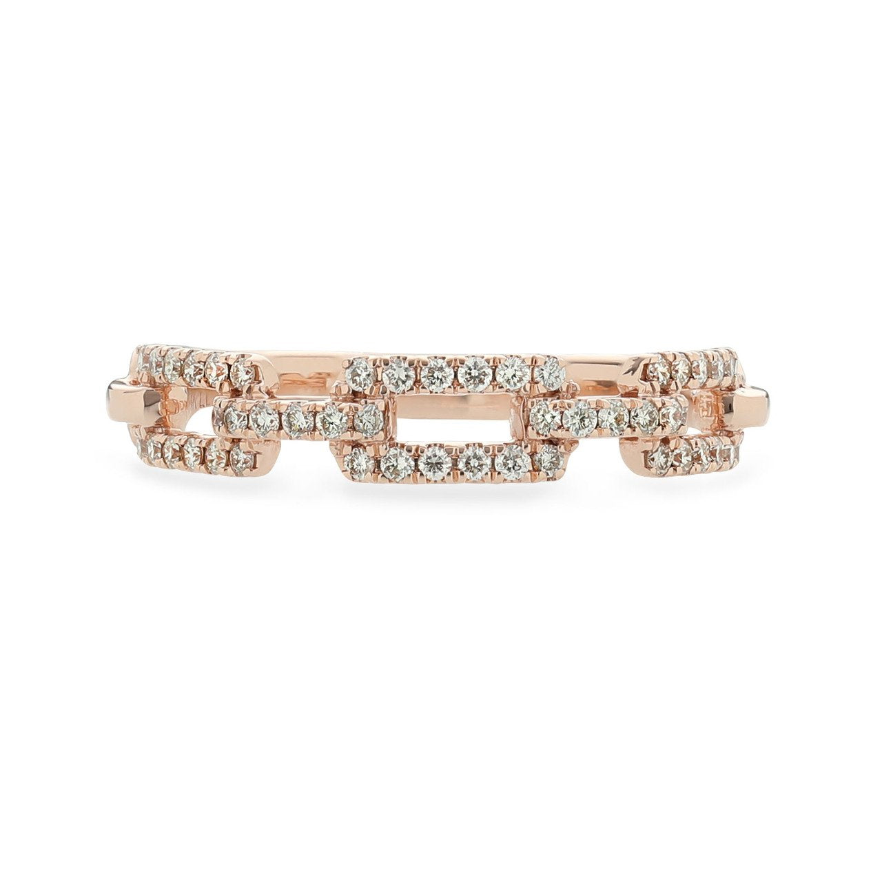 Sabel Collection 14K Pink Gold Diamond Link Ring