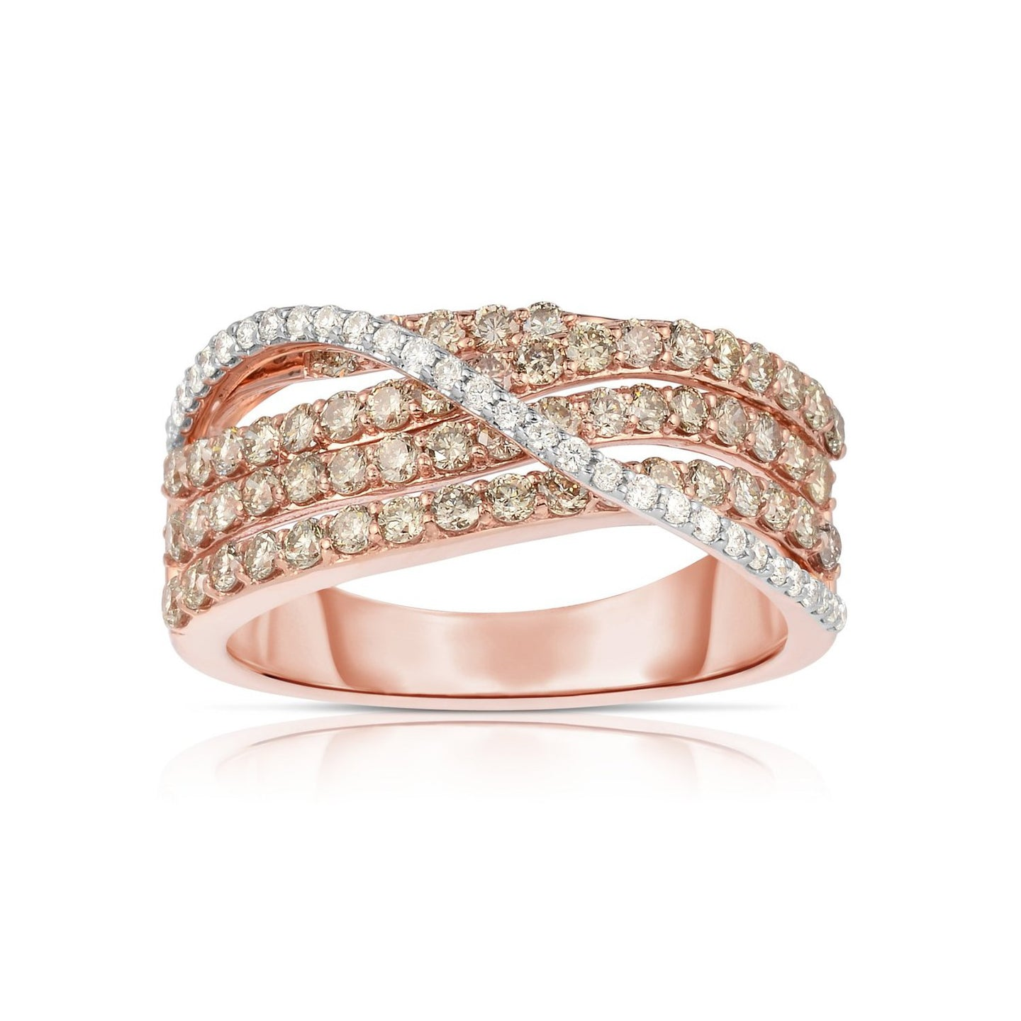 Sabel Collection 14K Rose Gold Fancy and White Diamond Crisscross Ring