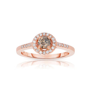 Sabel Collection 14K Rose Gold Mocha Diamond Ring with White Diamond Halo