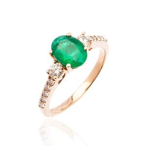Sabel Collection 14K Rose Gold Oval Emerald and Diamond Ring