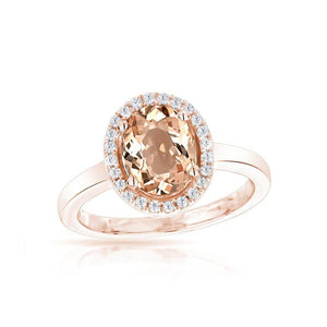 Sabel Collection 14K Rose Gold Oval Morganite and Diamond Ring