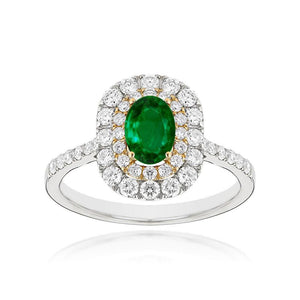 Sabel Collection 14K White and Yellow Gold Oval Emerald and Diamond Double Halo Ring