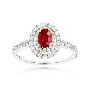 Sabel Collection 14K White and Yellow Gold Oval Ruby and Diamond Double Halo Ring