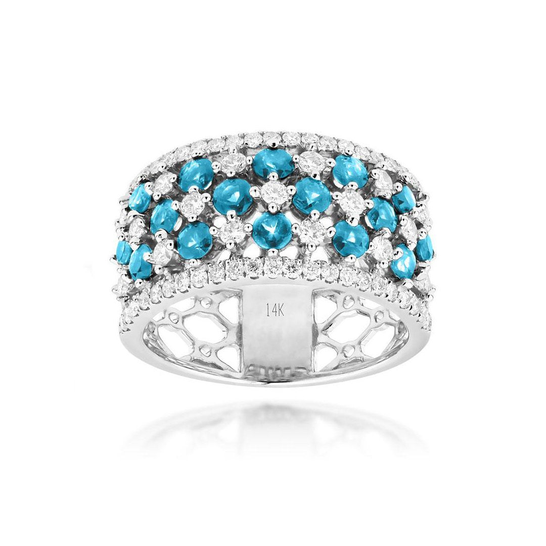 Sabel Collection 14K White Gold Aquamarine and Diamond Five Row Ring