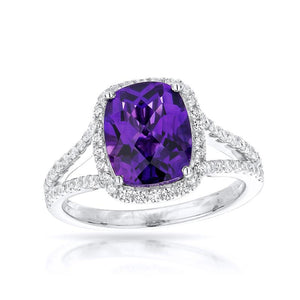 Sabel Collection 14K White Gold Cushion Cut Amethyst and Diamond Halo Ring