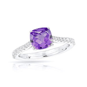 Sabel Collection 14K White Gold Cushion Cut Amethyst and Diamond Shank Accents Ring