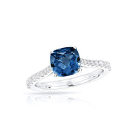 Sabel Collection 14K White Gold Cushion Cut London Blue Topaz and Diamond Ring